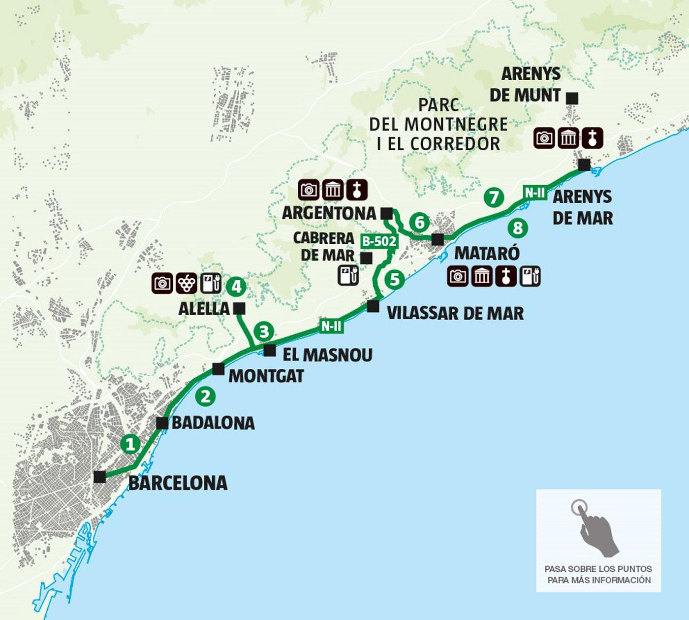 Costa De Barcelona Mapa.Maresme Spain Map