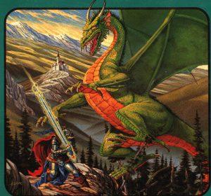 El caballero Jordi se enfrenta al dragon para salvar la vida de la princesa